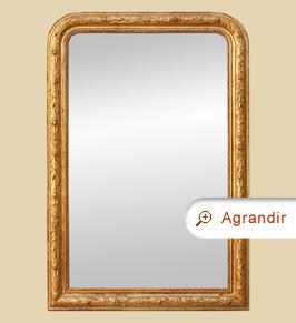 Grand miroir cheminée doré patine style Louis-philippe ancien