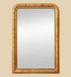 Grand miroir cheminée doré patiné ancien
