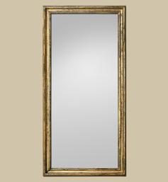 Grand miroir doré dorure vermeil à la feuille patiné