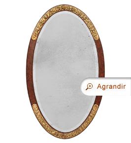 Grand miroir ovale ancien 1925 Art déco