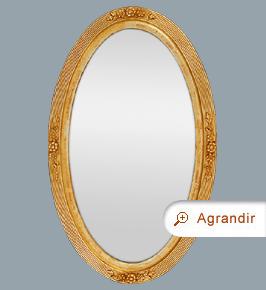 Grand miroir ovale ancien bois doré époque 1900