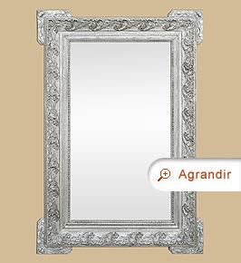 Miroir ancien 1900 argenté vieilli décor style Art Nouveau