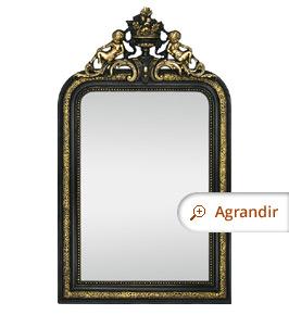 Miroir ancien à fronton orné d'anges et fleurs