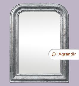 Miroir ancien argenté patine vieilli style Louis-Philippe
