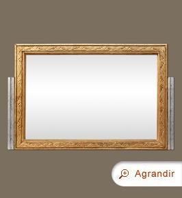 Miroir ancien art nouveau 1900 doré et argenté patiné