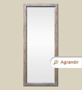 Miroir ancien bois moulure argent patine vieilli