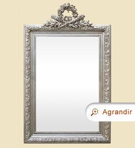 Miroir ancien cheminée, argenté à fronton