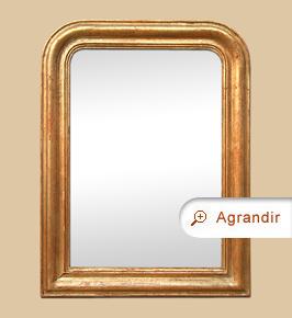 Miroir ancien doré cuivre patiné style Louis Philippe