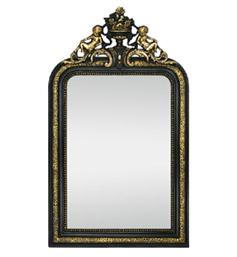 miroir-ancien-dore-fronton-decor-anges-fleurs