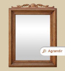 Miroir ancien en bois naturel à fronton décor coquilles et feuilles