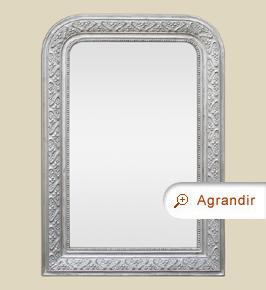 Miroir ancien Louis-Philippe argent décor 1900 style Art Nouveau