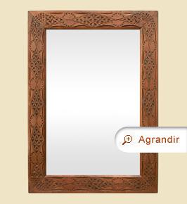 Miroir ancien orientaliste bois sculpté exotique 20ème siècle