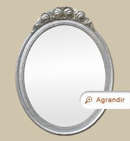 Miroir ancien ovale argenté Art Déco à fronton