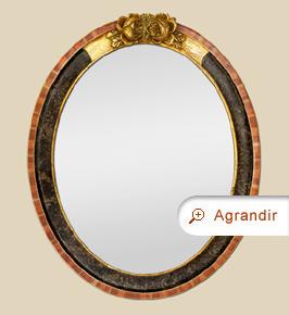 Miroir ovale ancien art déco 1930 fronton doré