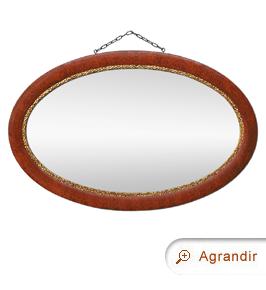 Miroir ancien ovale imitation bois de loupe patiné