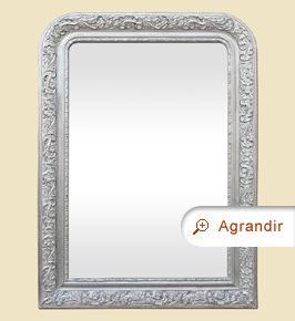 Miroir ancien style Louis-Philippe argenté patiné décor 1900