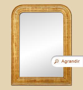 Miroir ancien doré style Louis Philippe à décors gravés