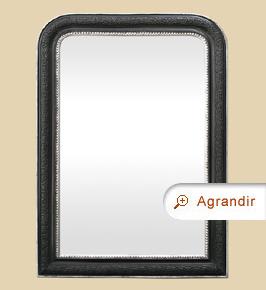 Miroir ancien style Louis Philippe noir et argent patiné
