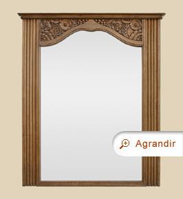 Miroir ancien trumeau bois de chêne naturel sculpté
