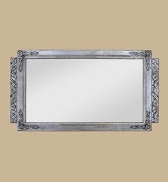 Miroir Art déco argenté à décor floral