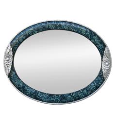 Miroir argenté Art Déco couleur turquoise