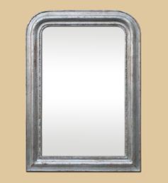 Miroir argenté patine vieilli style Louis Philippe ancien décor de perles