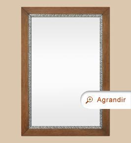 Miroir bois ancien, chêne clair à décor argenté patiné