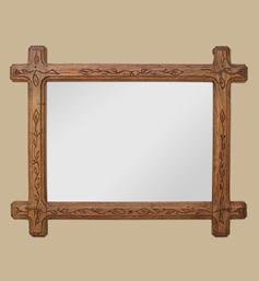 Miroir bois ancien style Art populaire
