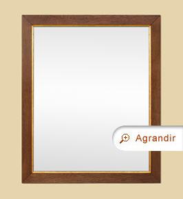 Miroir ancien bois chêne blond clair filet doré