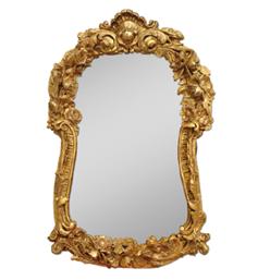 miroir-bois-dore-19eme-ancien-coquille