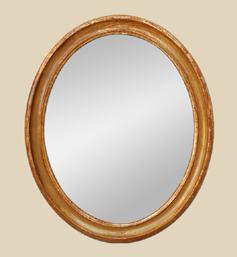Miroir bois doré ovale époque XIXème