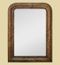 Miroir décor imitation bois style Louis Philippe