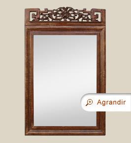 Miroir bois sculpté ancien à fronton décor style asiatique