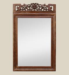 miroir-bois-sculpte-fronton-asiatique