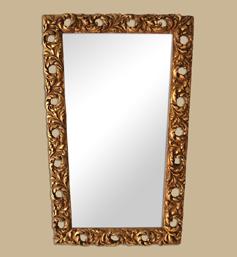 Miroir bois doré forme trapèze