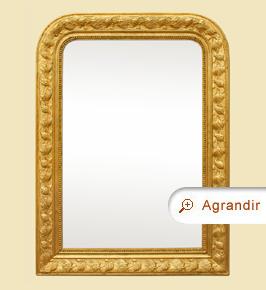 Miroir doré Louis Philippe ancien décors fleurs exotique