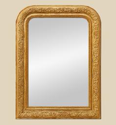 Miroir doré Louis philippe décor feuilles stylisées