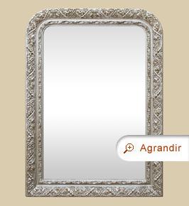 Miroir Louis Philippe ancien argenté décor 1900