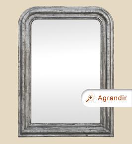 Miroir Louis Philippe ancien argenté patiné