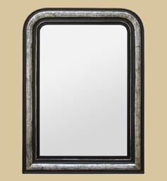 Miroir Louis Philippe argenté et noir patiné