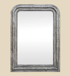 Miroir Louis Philippe argenté patine noir et argent