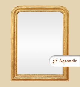 Miroir Louis Philippe doré ancien décor de perles