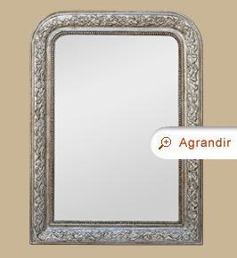 Miroir louis philippe patine gris argent miroirs anciens for Miroir gris argent