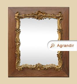 Miroir Louis XV ancien, or et bois sculpté