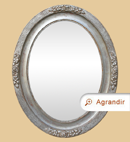 Miroir ovale ancien argenté patiné 1900 décor floral