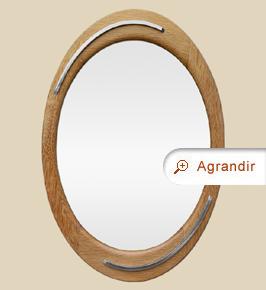 Miroir ovale ancien bois chêne clair années 60