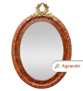 Miroir ovale ancien bois de rose, fronton bronze doré