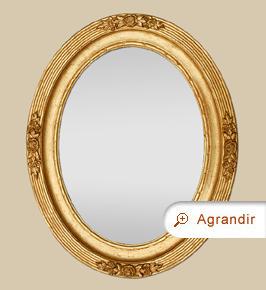 Miroir ancien ovale doré style Art Nouveau décor 1900