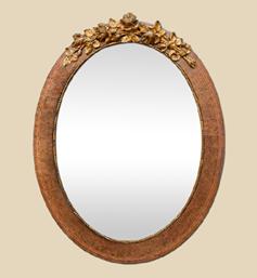 miroir-ovale-ancien-marqueterie-fronton-metal-dore-cuivre
