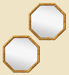 paires-de-miroirs-octogonaux-dores-patine